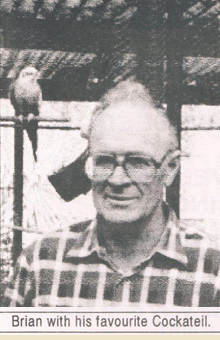 Brian Healy with his favourite Cockatiel (ASNSW The Avicultural Reivew - Volume 15 No. 3 April/May 1993)