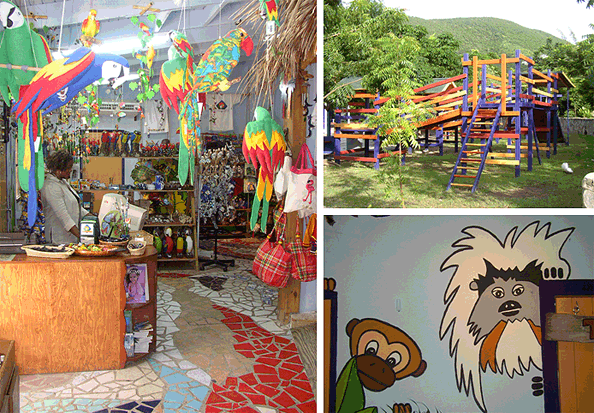 St Martin Zoo playground, shop and Monkey Bar.