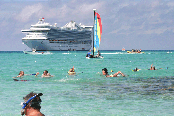 St Martin:  1.3 million tourists a year arrive by cruise ships alone.