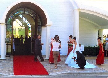 Bridal party entering The Hunter Valley Chapel