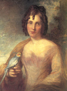 Elizabeth Gould with a Cockatiel perching on her right hand