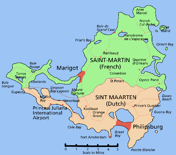 Map of St Martin showing the dvision into two nations.