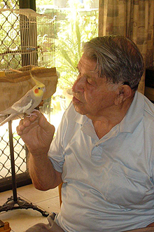 Jack Stunnel with his pet Cockatiel